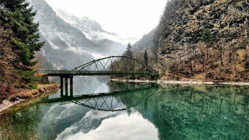 Mountain Lake Bridge Wallpaper