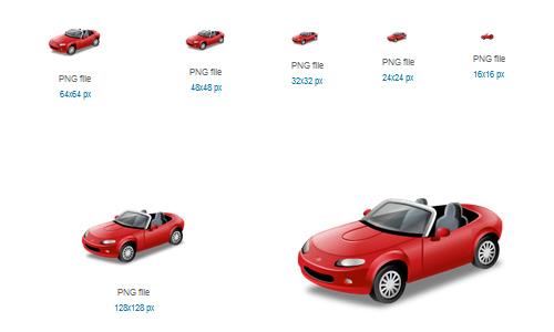 Cabriolet Red Icon