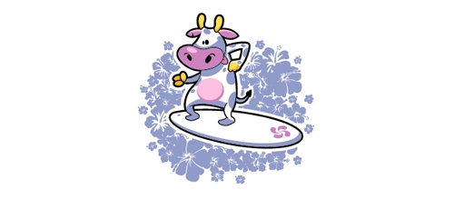 Surfing cow logo