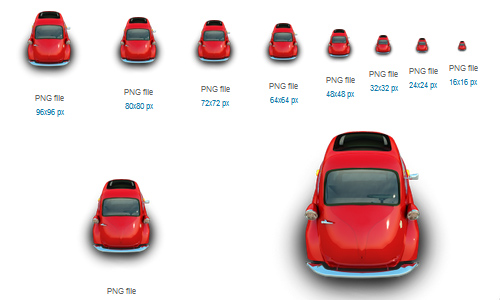 Red Little Car Icon