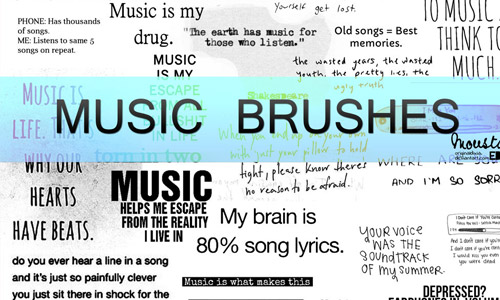 musical text brushes photoshop