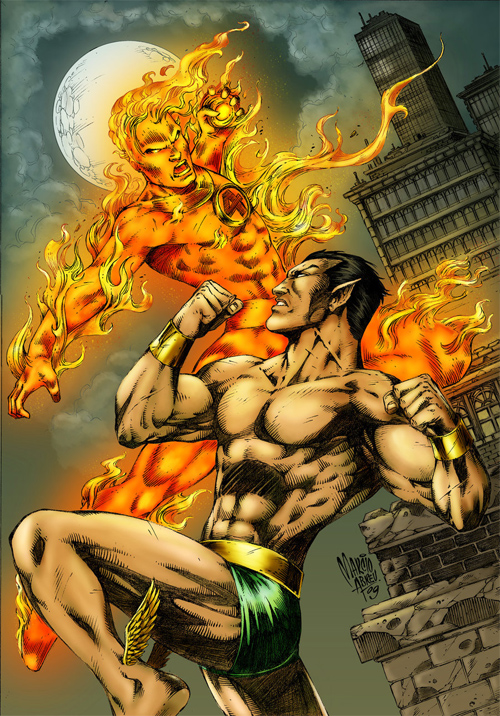 Namor vs Human Torch colored