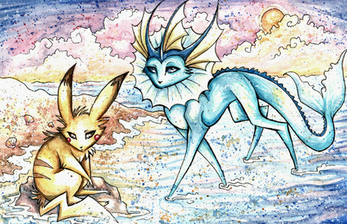 Pikachu and Vaporeon