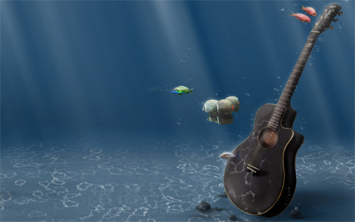 Guitar Under Water Wallpaper