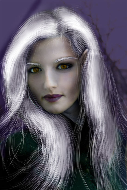 Transform a Female into a Dark Elf Using Photoshop Drawing Techniques