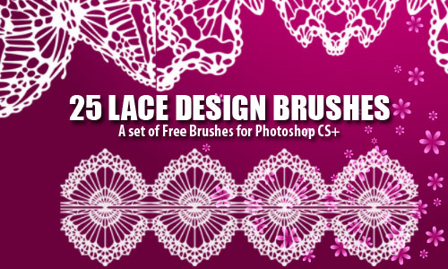 25 Dainty Lace Design Photoshop Brushes
