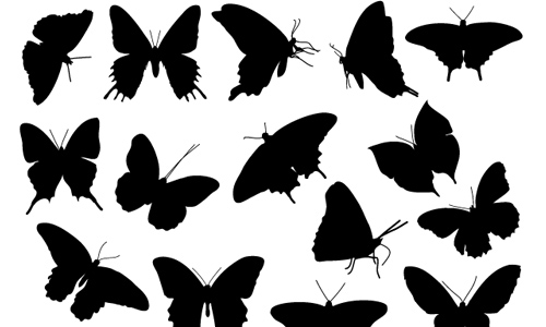 Free Butterfly Silhouette Photoshop Brush Pack