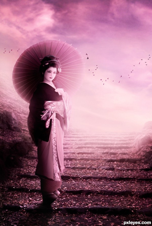Create an Attractive Oriental Geisha Scene