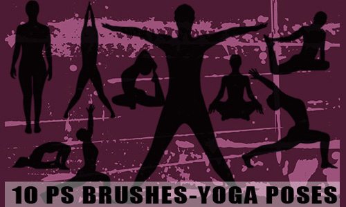 10 Yoga Postures Photoshop Brushes