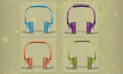 Headphones of colors (iconos)