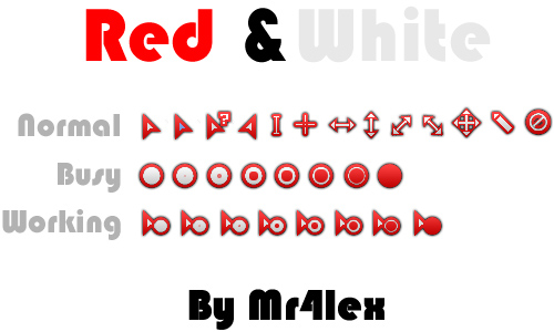 Red and White Cursor Set