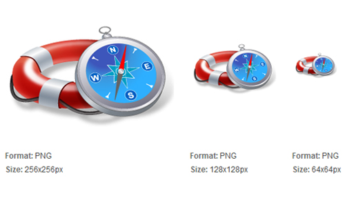 Flotation Device and Compass Icon