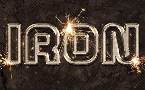 Sparkling Iron Text Effect