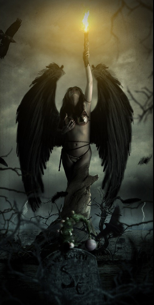 CREATE A PHOTO MANIPULATION OF AN ANGEL HOLDING A TORCH