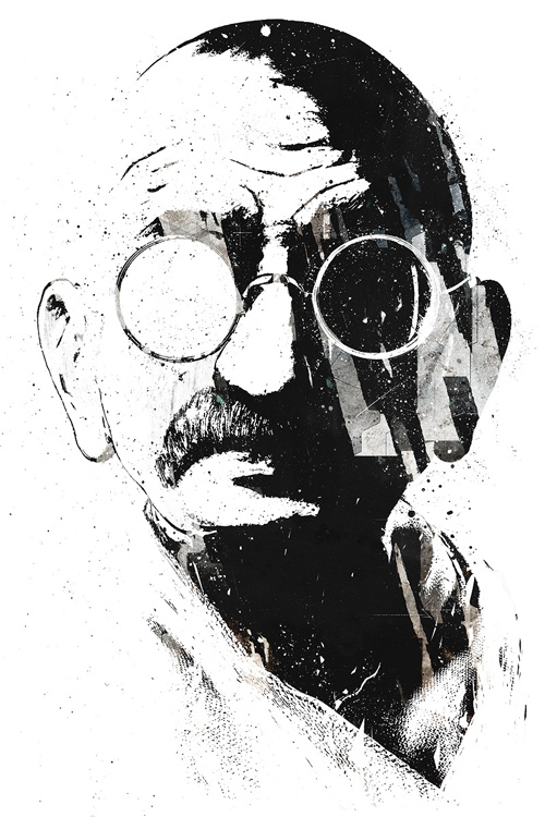 gandhi artwork picture illustration black and white portrait