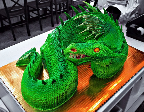 Green dragon unusual cake design cool