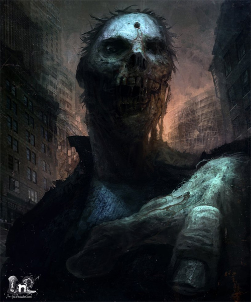 Head zombie Halloween artwork illustration