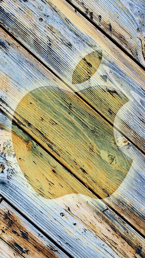 Apple Wood iPhone Wallpaper