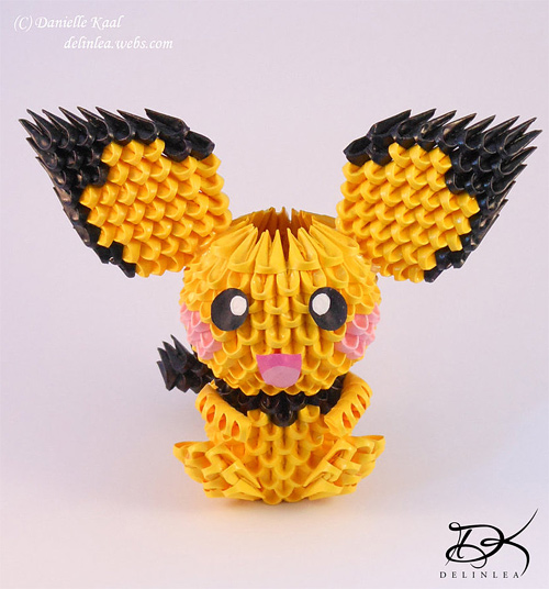 Pichu pokemon yellow origami artwork paper design