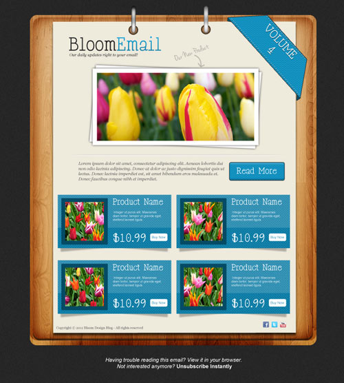 Design a Textured Email Template in Photoshop (Free PSD)