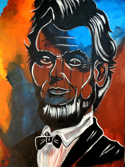 Colourful portrait abstract abraham lincoln artwork illustration