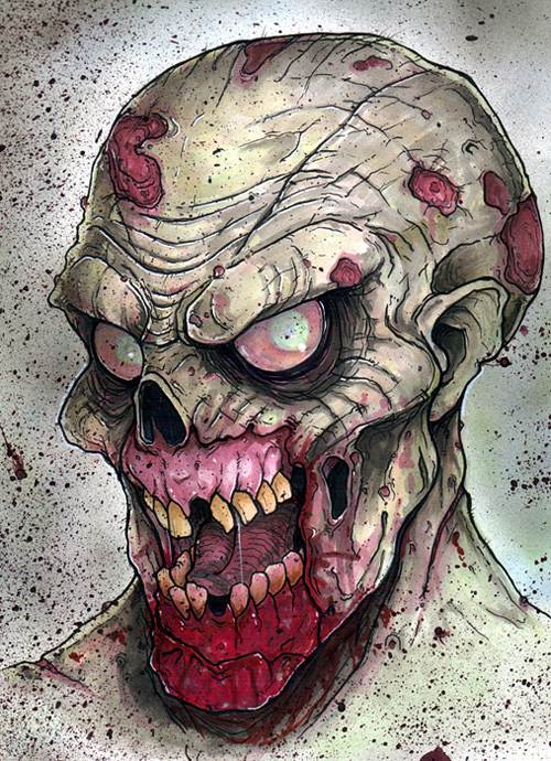 Freaky zombie halloween artwork illustration