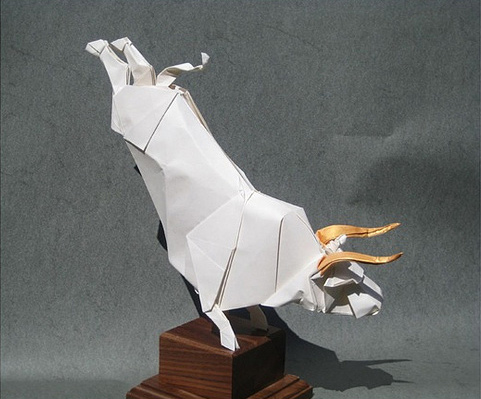 White bull origami artwork paper design