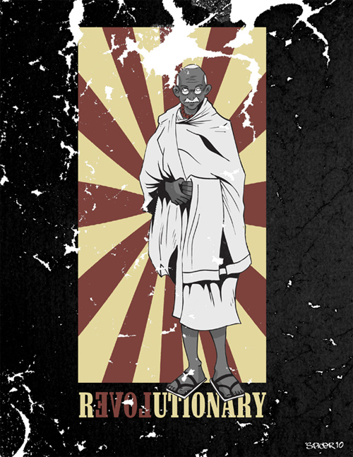 gandhi artwork picture illustration revolutionary