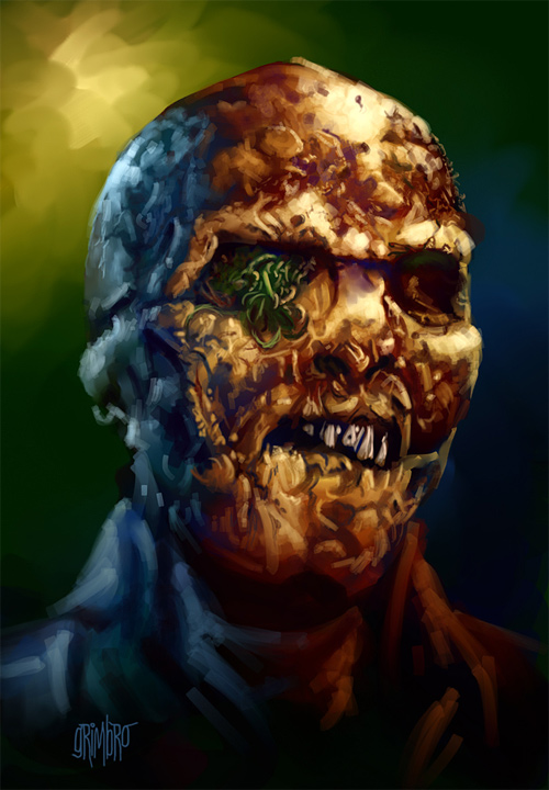 Gruesome zombie halloween artwork illustration
