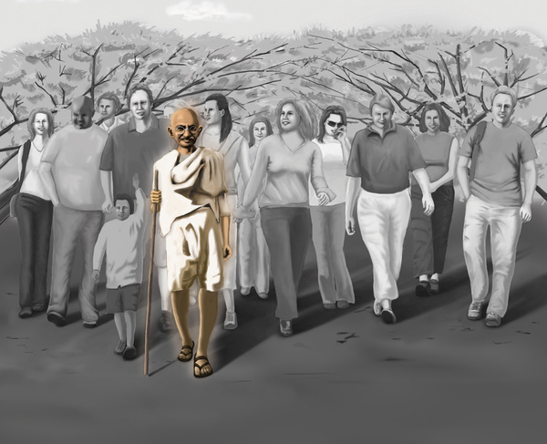gandhi artwork picture illustration painting