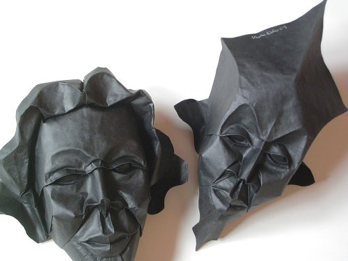 Mask face origami artwork paper design