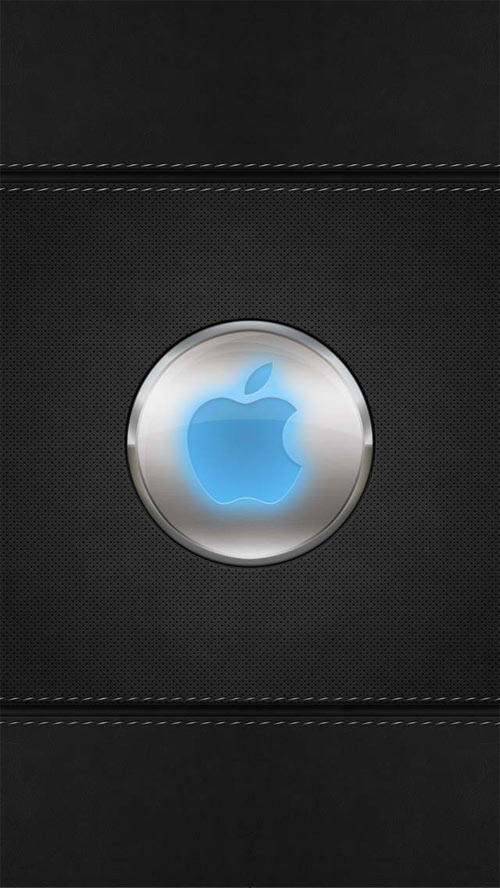 Blue Glow Apple Logo iPhone 5 Wallpaper