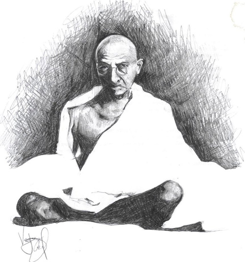 gandhi artwork picture illustration stencil
