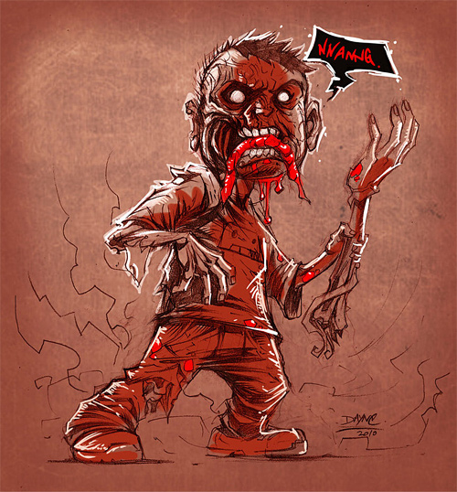 Awesome zombie halloween artwork illustration