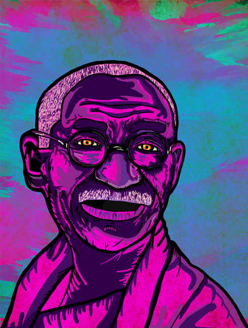 gandhi artwork picture illustration purple