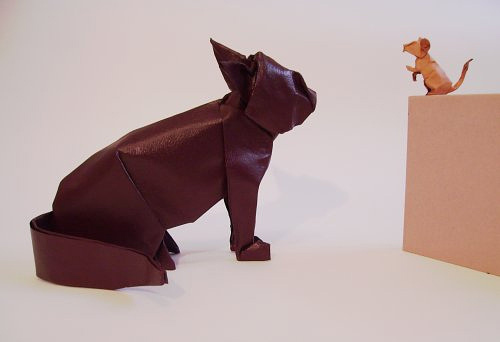 Mouse cat origami artwork paper design
