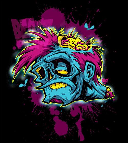 Pop zombie halloween artwork illustration