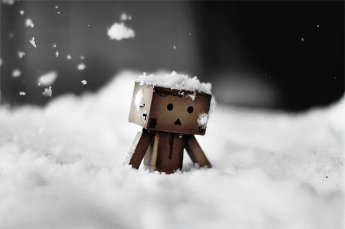 Snow cold sad danbo photography cute