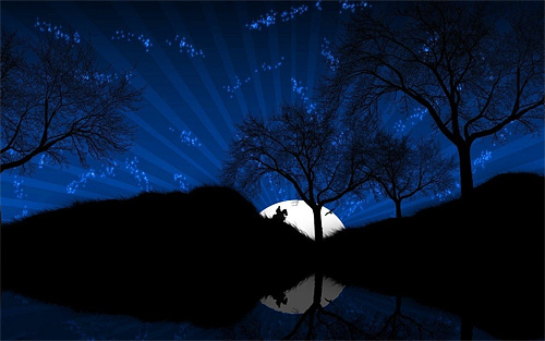 Cartoon tree cool moon wallpaper