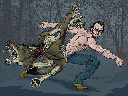Cartoon werewolves abraham lincoln artwork illustration