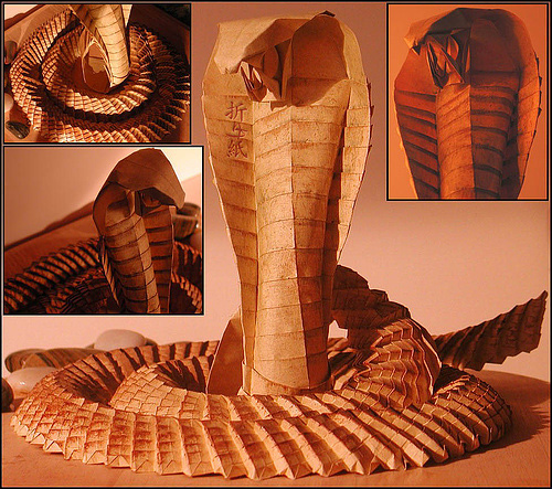 Cobra snake origami artwork paper design