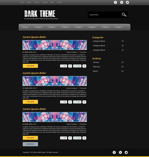 Design a Dark & Minimal WordPress Theme in Photoshop (Free PSD)