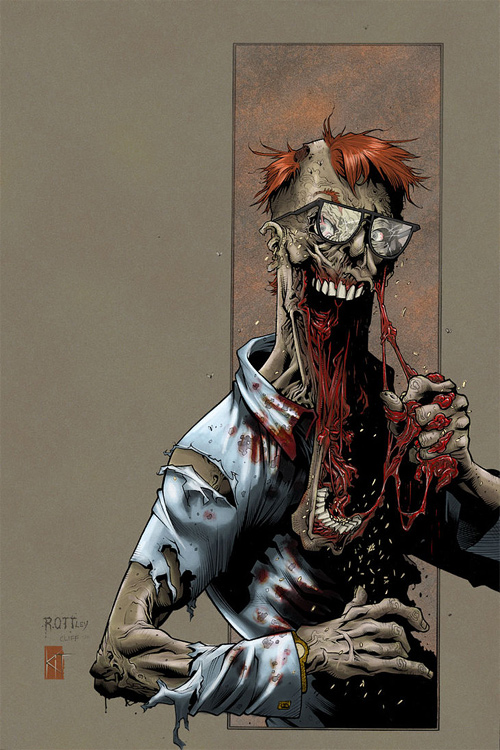 Geek zombie halloween artwork illustration