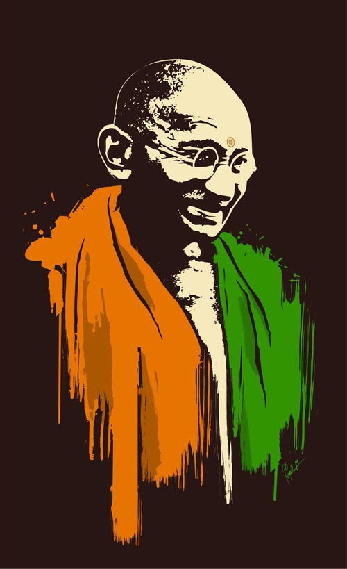 Gandhi digtal vector artwork picture illustration