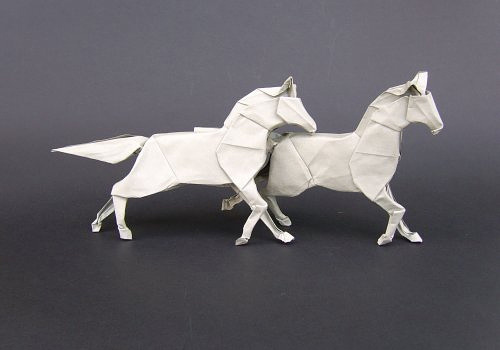 White horse origami artwork paper design