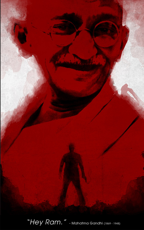 Gandhi assassination red artwork picture illustration