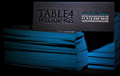 Black & Blue Letterpress Business Cards