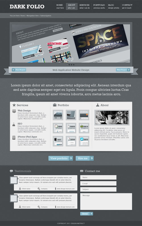 Create a Dark Portfolio Web Design in Photoshop