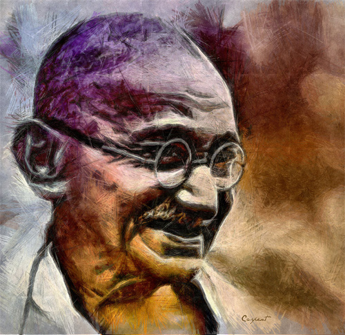 gandhi artwork picture illustration color