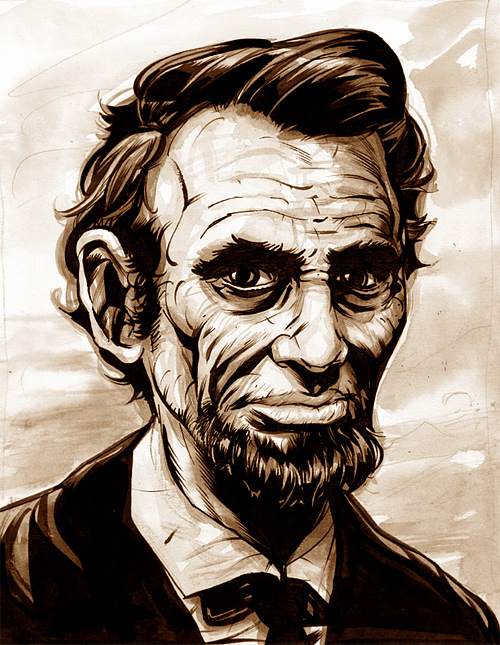 Sketch portrait abraham lincoln artwork illustration